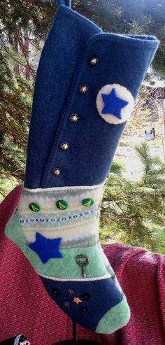 Felted Christmas Stocking with Old Fashion Charm