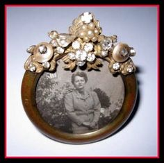 Tiny Vintage Jeweled Round Picture Frame