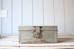 Vintage Metal Storage Box // Industrial Display by genrestoration, $34.00