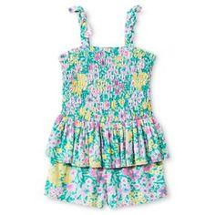 Toddler Girls' Floral Peplum Romper Green - Genuine Kids from Oshkosh™
