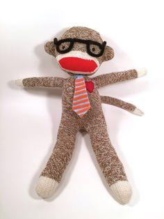 Business Sock Monkey Doll Promotion Gift by RedHeartMonkeys