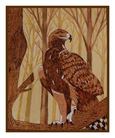 Pyrogravure sur bois peinte à l'acrylique  L'aigle 50/60 cm