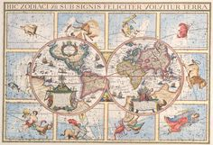 Zodiacal map - Zodiacal world map - Old map of the world - Wall map decor, printed on paper or canva Map Wall Decor, Canvas Wall Decor, Wall Maps, Canvas Art, Canvas Prints, Antique World Map, Antique Maps, Map Old, All World Map