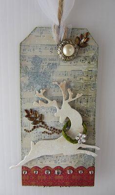 Made by Nicole: Reindeer Tag a la Tim Holtz and Advent Christmas Tags Handmade, Homemade Christmas Cards, Holiday Gift Tags, Handmade Tags, Christmas Paper, Christmas Tables, Yule Crafts, Christmas Crafts, Nordic Christmas