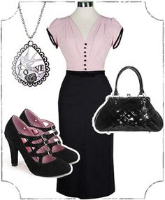 Outfit: Prim & Proper Pinup --- ahhhhhh love this so much. Pin Up Outfits, Pin Up Dresses, Dressy Outfits, Office Outfits, Rockabilly Fashion, Rockabilly Clothing, Rockabilly Style, Vintage Dresses, Vintage Outfits