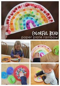 Toddler Approved!: Colorful Bead Paper Plate Rainbow