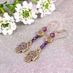 Hamsa Hand Spiral Gold Amethyst Purple Swarovski Crystal Earrings | SolanaKaiDesigns - Jewelry on ArtFire @Solana Kai Designs