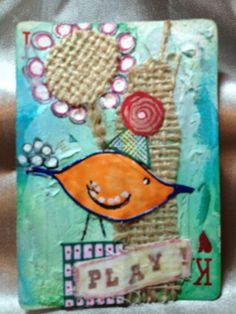 King of Hearts Party Bird - Altered Playing Card Collage (OOAK) Using Inks, Papers, Fabrics/Lace, Paint & Handcarved Stamps