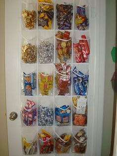 13- Getting Organized creative college dorm room ideas or for pantry in apartment (we need to eat)...great way to organize small individually wrapped items and get rid of boxes. Could use cricut to put names on each section for multiple roommates.