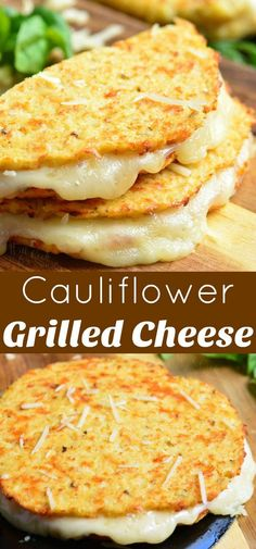 Cauliflower Grilled Cheese is a gluten free, low-carb version of a classic comfort sandwich made with cooked riced cauliflower, egg, Parmesan cheese, and seasoning. #recipe #cauliflower #sandwich #lowcarb #cheese