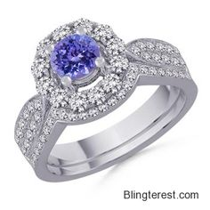 Round #Tanzanite and #Diamond Engagement #Ring SD_SR0343T  #Jewelry http://blingterest.com/rings/engagement-rings/round-tanzanite-and-diamond-engagement-ring-sd_sr0343t-sd_sr0343t-jewelry/