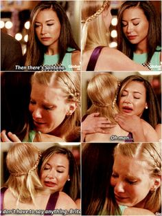I just watch these scene. I didn't think I could ship them more but I do. Glee Memes, Glee Quotes, Glee Santana And Brittany, Becca Tobin, Heather Morris, Glee Club, Naya Rivera, Dianna Agron, Cory Monteith