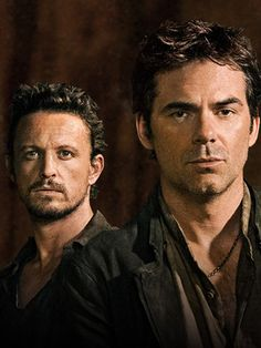 Revolution:  Characters:  Sebastian Monroe and Miles Matteson. *Shame on NBC for canceling.  Replaced by Constantine.  We want Revolution, back!