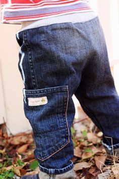 Toddler Jeans tutorial - made from upcycled adult size jeans