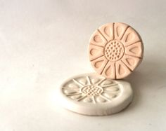 Pottery Stamp, Mid Century Sunflower, Teardrop Petals, Sunny Sun, Tool for Texturing Ceramics, Polymer Clay, Jewelry