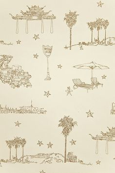 Best Coast Wallpaper in Metallic Gold and Cream by Sandy White for Cavern Home