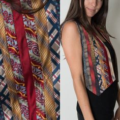 ViNtAgE 1980's Silk Mens Tie Women's Vest Upcycled Patterned Funky Fun Necktie Crop Rare SMALL MEDIUM LARGE