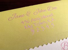 Closeup of addressing technique end result with the liquid acrylic.  #invitation #babyshower