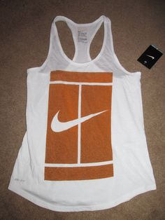 Nike Court Womens Tennis Logo Tank Shirt White Clay 848336 101 #Nike #ShirtsTops