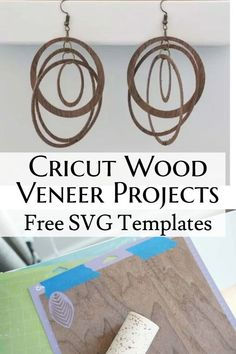 Cricut maker projects, free svg files, wood earrings Diy Leather Earrings, Wooden Earrings, Wood Veneer Sheets, Project Free, Diy Gifts, Handmade Gifts, Wood Glue, Diy Home Crafts, Wood Projects