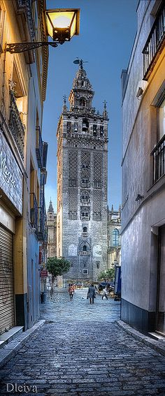 La Giralda from an alley, Seville, Spain