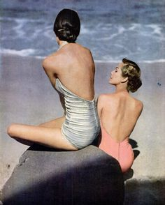 hollyhocksandtulips:    Beauties on the beach, 1948