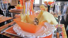 Red Couch Recipes: Candy Corn Craze Tablescape