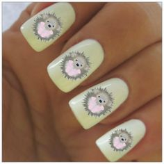 Hedgehog Nail Decals 40 Water Slide Decals by NailPretties on Etsy, $3.95