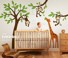Monkeys with Giraffe Wall Decal , Tree ,Children ,Nursery, Baby Wall Decal Wall Sticker wall graphic - KK127