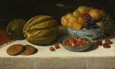 Still Life with Fruit and Bread on a Table with a White Damask Tablecloth. Oil painting by Floris Claesz. van Dijck, 1628, private collection