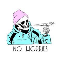 No Worries Men's T-Shirt by Beebosloth Stoner Art, Skeleton Art, Skull Wallpaper, Tattoo Flash Art, Dope Art, Skull And Bones, Skull Art, Art Drawings, Illustration Art