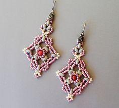Beading pattern instructions - beadweaving tutorial beaded seed bead jewelry – beadwoven beadwork earrings - JULIETTE