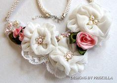 Ruffled Silk Velvet Flower Bib Necklace door designsbypriscilla