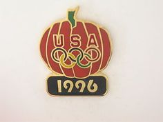 """1996 ATLANTA SUMMER OLYMPICS HALLOWEEN USA RINGS ON LARGE PUMPKIN"""