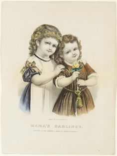 <p>Two young girls looking forward at viewer. One to left (blue dress, white apron) hands on other girl's shoulder. One to right, brown dress holding yellow stemmed rose.</p>