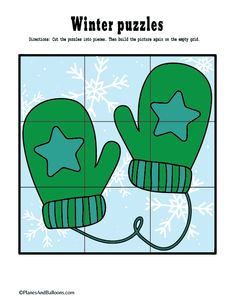 Fun printable winter activities for kids. These fine motor cut and paste puzzles are great for classroom or at home fun! Penguins, mittens, hot chocolate and ice skates puzzles are easy to prepare and a lot of fun to play. Fine Motor Activities For Kids, Winter Activities For Kids, Winter Crafts For Kids, Spring Activities, Winter Fun, Winter Theme, Winter Holidays, Preschool Activities, Winter Preschool Themes