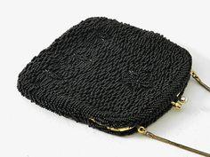 Jahrgang Schwarzglas Hand Perlen Handtasche von GrandVintageFinery