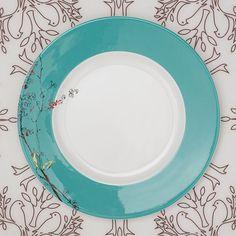 Chirp bone china dinner plate, $38, Lenox; Birds 'n Trees place mat, $22, Modern-twist, Lekker Home