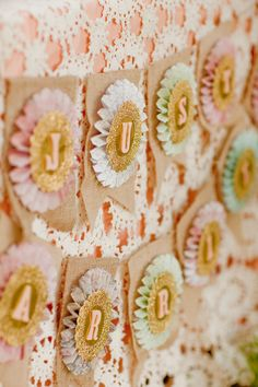 Looks like I could make this with burlap, cupcake holders, doilies, and some small letters!