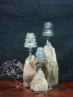 4 Glass Insulators on Fence Posts Home Decor Bookends also