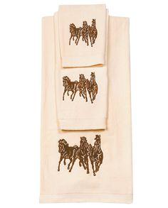 Cream Horse 3-Piece Bathroom Towel Set