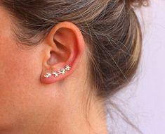 ac065e092 Silver ear crawler Sterling silver ear cuff nature by anatajewelry Ear  Crawler Earrings, Ear Earrings