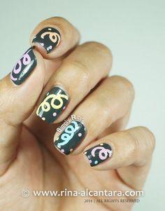 happy new year nail art