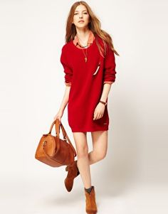 Enlarge Maison Scotch Fisherman Knitted Dress with Beaded Pin Brooch