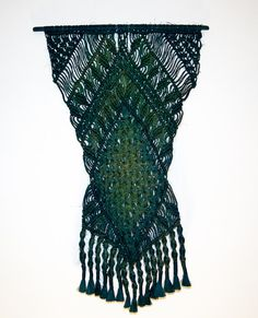 Green Diamond  Macrame Wall Hanging Art