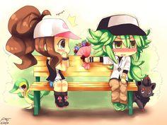 Touko and N sitting on a bench outside. #Ferriswheelshipping #Touko #N