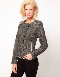 This adorable tweed jacket from ASOS is classic, versatile, and flattering for just about any figure ($52).