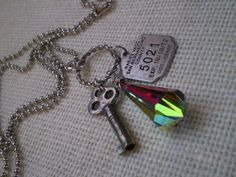 Cluster charm necklace featuring vintage key, dog license and crystal prism on ball chain repurposed Key to your heart Old Keys, Vintage Keys, Find Objects, Ball Chain, Art Pieces, Charmed, Personalized Items, Crystals, Unique Jewelry