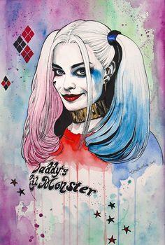 Harley Quinn by Erica Dal Maso Harley Quinn Et Le Joker, Harley Quinn Tattoo, Harley Quinn Drawing, Images Pop Art, Harey Quinn, Queen Drawing, Margot Robbie Harley, Joker Wallpapers, Joker Art