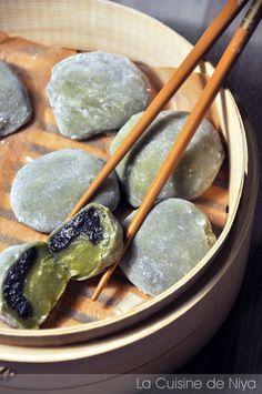 La Cuisine de Niya - Daifuku mochi au thé matcha et sésame noir - Asie - Japon